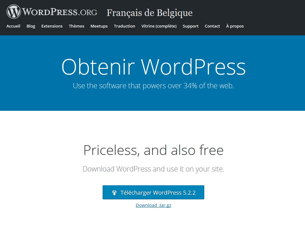 installer WordPress, page de téléchargement