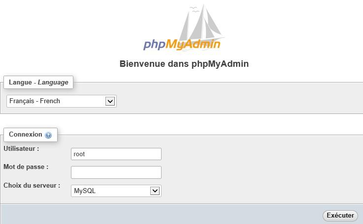 page d'inscription phpMyAdmin nécessaire pour installer WordPress