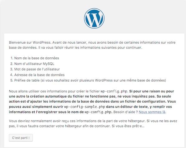 info installation wordpress